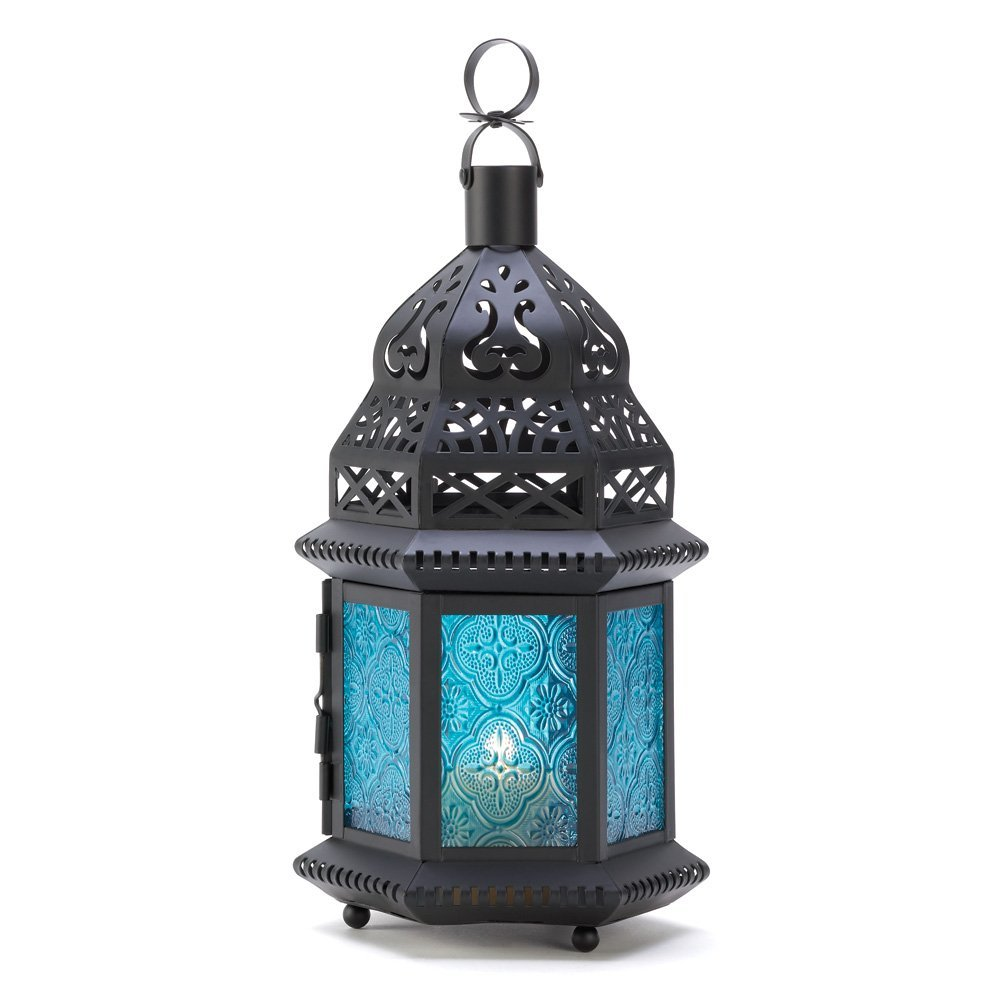Blue Glass Moroccan Style Candle Lantern Home Decor Lighting Accessories Light Table Accessories Home Decor Home Decorative Items Accessories and Gifts