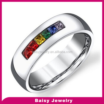 6mm High Polished Jewelry Pride Rings Rainbow Colored Cz Men Wedding Ring In Stainless Steel