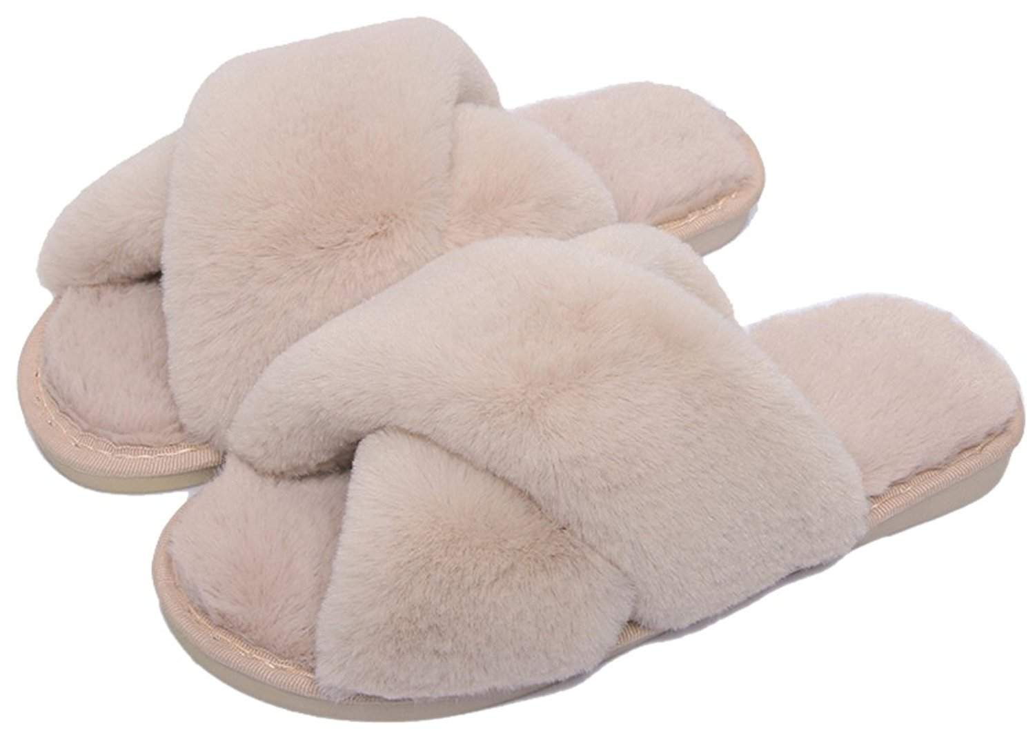 48e63939dad Get Quotations · FreLO Women Plush Crossed Upper Fluffy Slippers Cute  Slippers