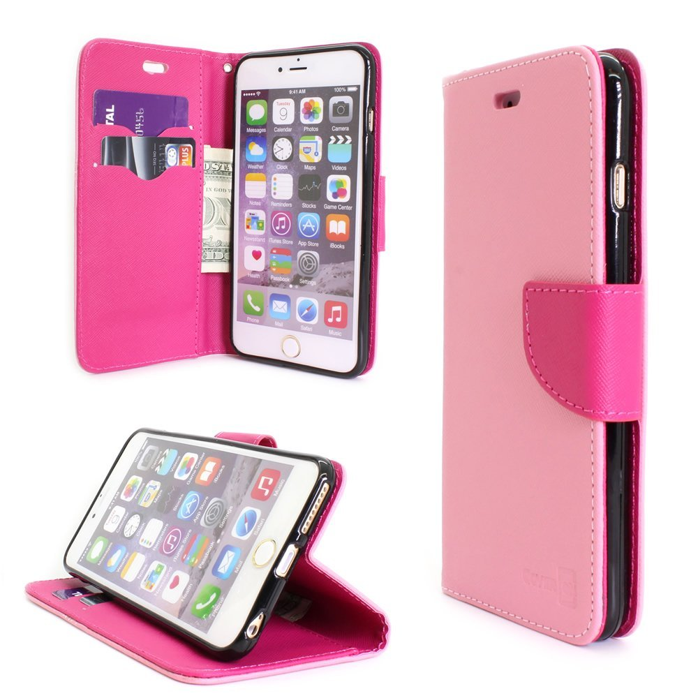 iPhone 6s Plus Wallet Case, CoverON® [CarryAll Series] Flip Folio Card Slot Pouch LCD + Strap + Stand Wallet Case For Apple iPhone 6s Plus (2015) / iPhone 6 Plus (5.5) - (Light Pink / Hot Pink)