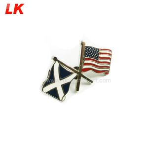 Custom different country double flag lapel pin / American flag lapel pin