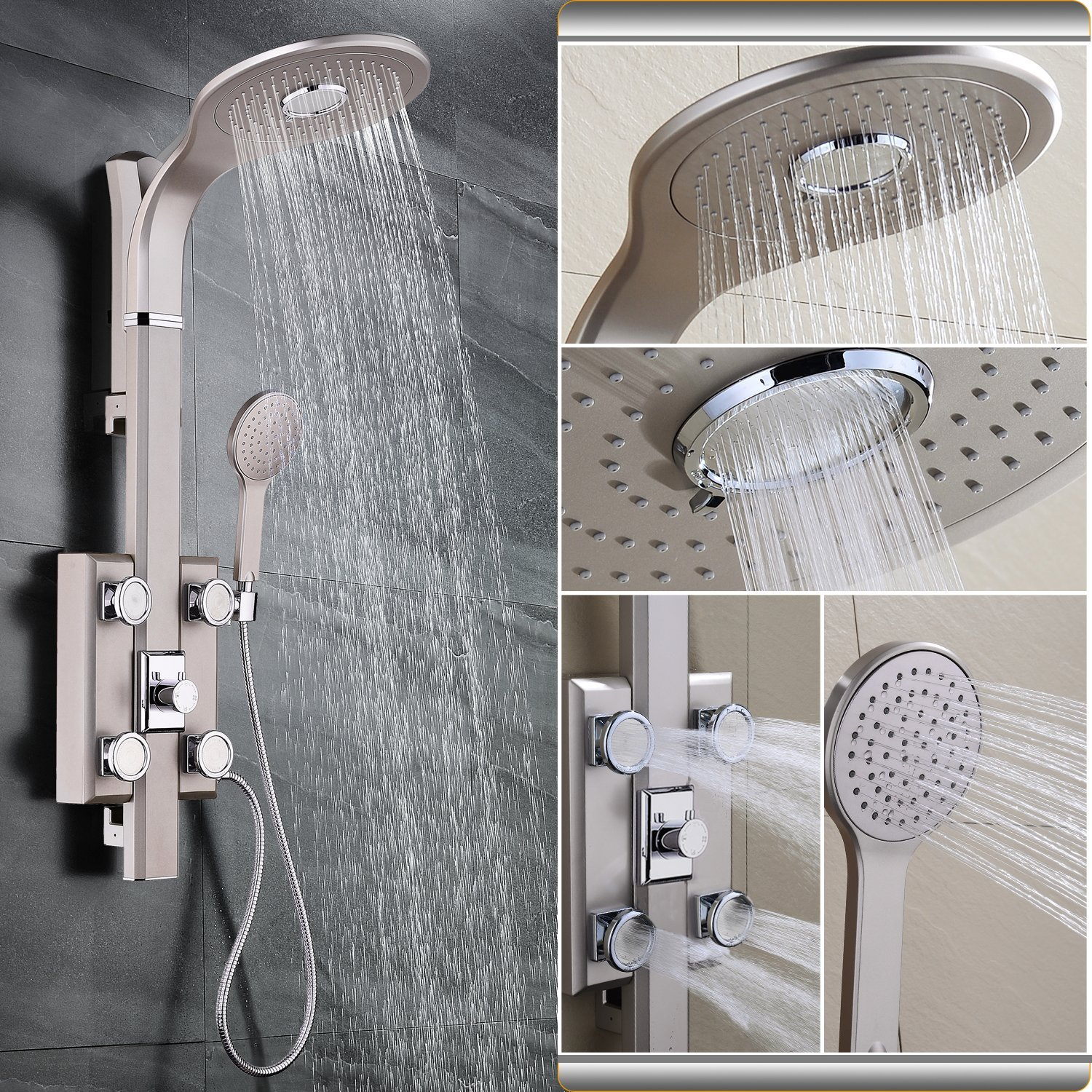 High Pressure Rain Shower SR Sun Rise Four-Function Shower Panel with Rain Shower Aluminum-Magnesium Alloy High Temperature Taking Process White Handheld Shower and Four Massage Jets