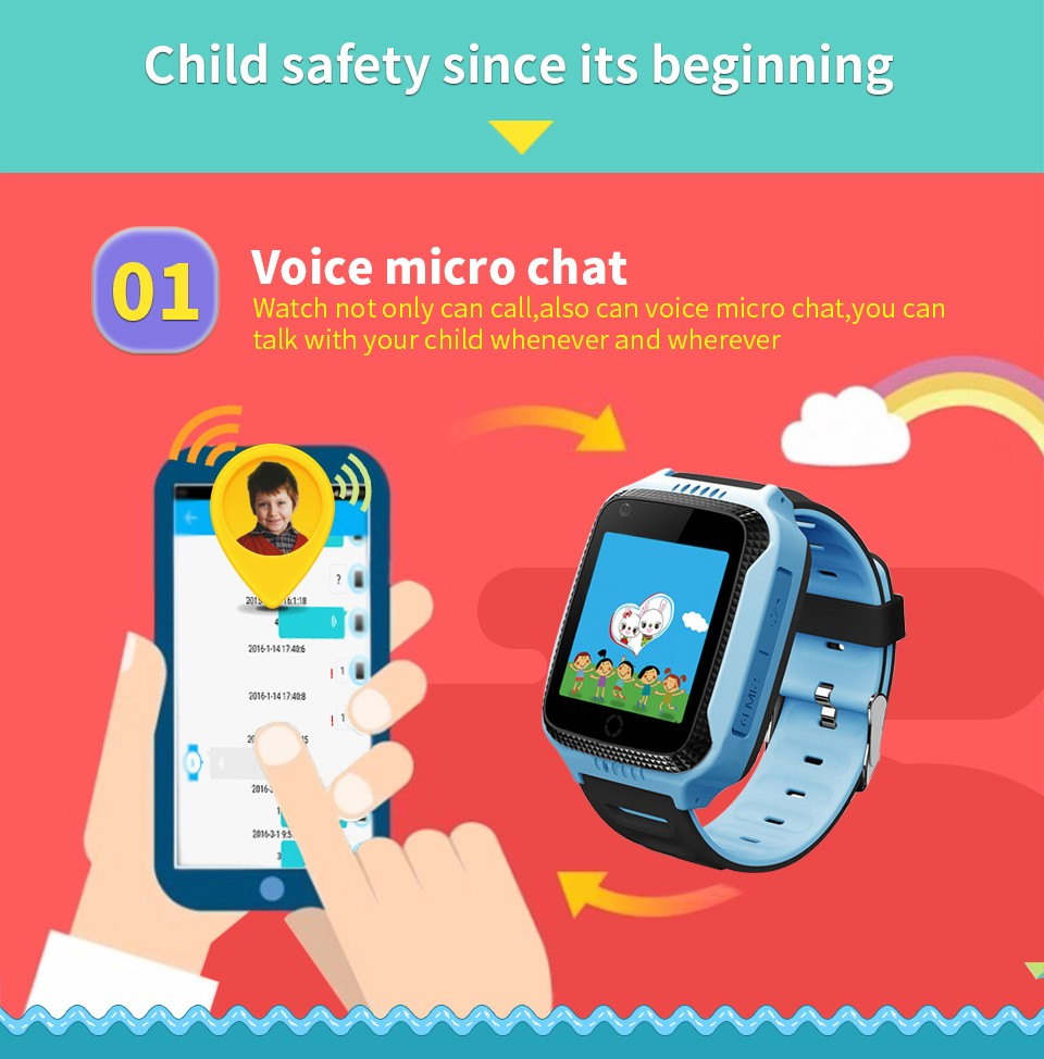Kids Smart Watch Mobile Phone With Gps Sos Sim, Led Touch Screen Watch