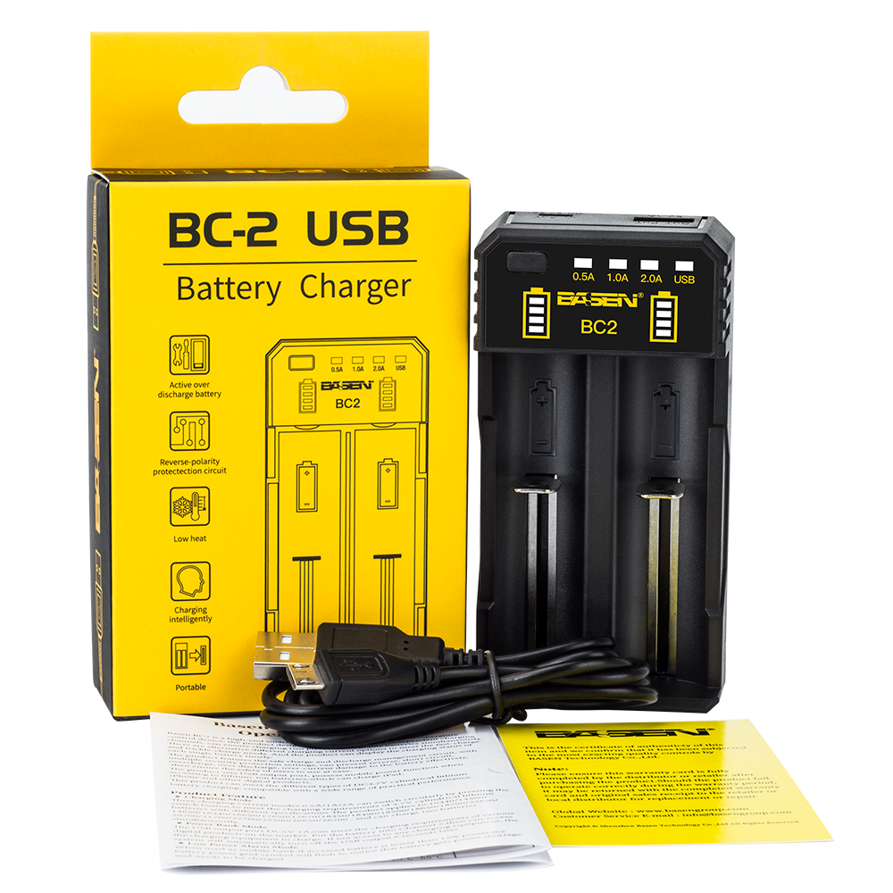Basen BC2 18650 Battery Charger International for 3.7V Recharge Batteries Digital/Video Camera Travel Charger