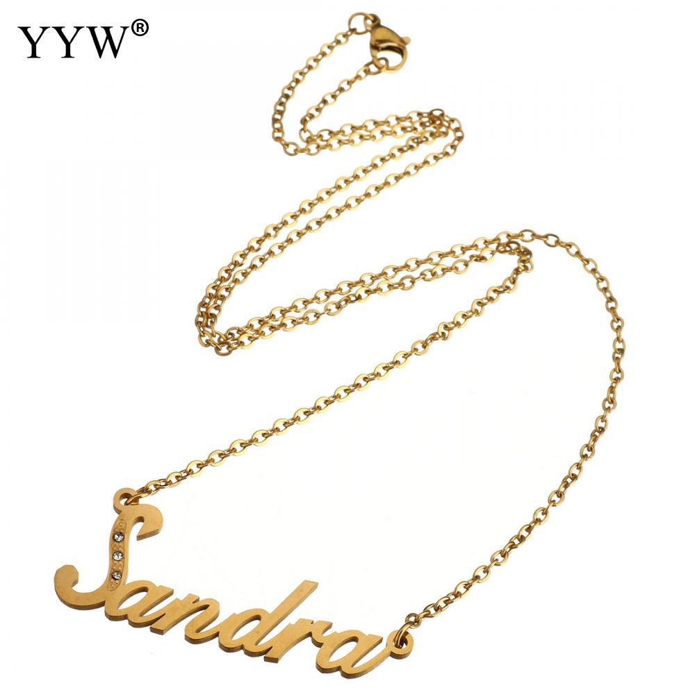 aae89dfc7c75 Conjunto de joyas de acero inoxidable pendientes de tachuela Color dorado personalizado  nombre colgante collar hecho a mano regalo de cumpleaños para mujer