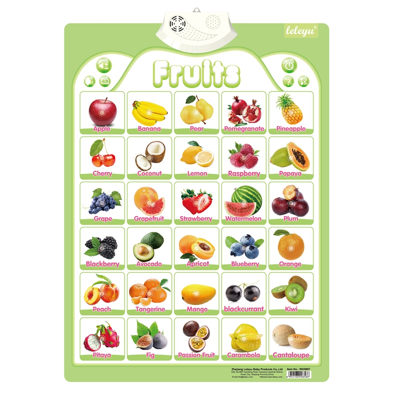 Wg9907 Wholesale English Learning Fruits Chart Talking Poster Toy Kids Learn Fruits Name Buy Fruits Chart Kids Learn Fruits Fruits Talking Poster Product On Alibaba Com
