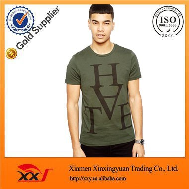chest printing t-shirt green color t shirt fine cotton t-shirts cheap urban clothing