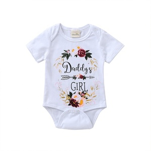 Factory outlet baby clothes 100%cotton summer soft printed baby girl rompers