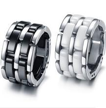 Gurantee 100 Titanium Steel White Black Ceramic Wedding Rings Brand Fashion Jewelry RG006