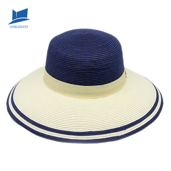 9f2f87884 Hot sale New Fashion Summer Style Straw Flat-top hat Bule Sun hat for woman