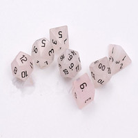 Rose Quartz handmade Engraved stone dice For DnD RPG Semi-Precious dice