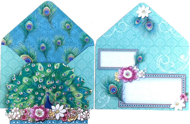 Punch Studio~Christmas Peacock~Tissue Kleenex Box~Forest Green~Gold Foil Details