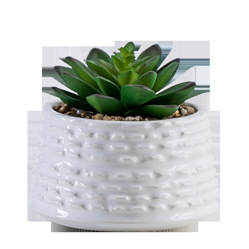 MINI ประดิษฐ์หัตถกรรมพลาสติก Succulent Bonsai พืชหม้อเซรามิคสำหรับในร่ม Home Decor