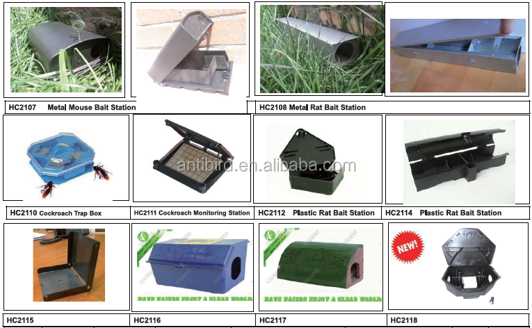 OEM plastic rat bait box trap with key HC2101