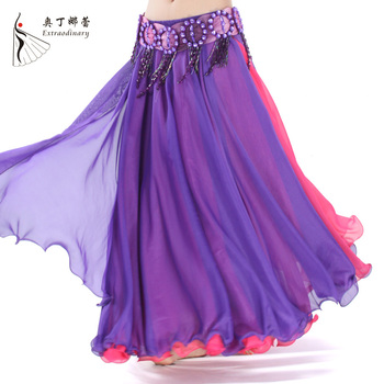 4aee4a7e854c Hot Sale Contrast Colors Women Belly Dance Skirts Side Split Full Circle  Long Bellydance Skirt Chiffon