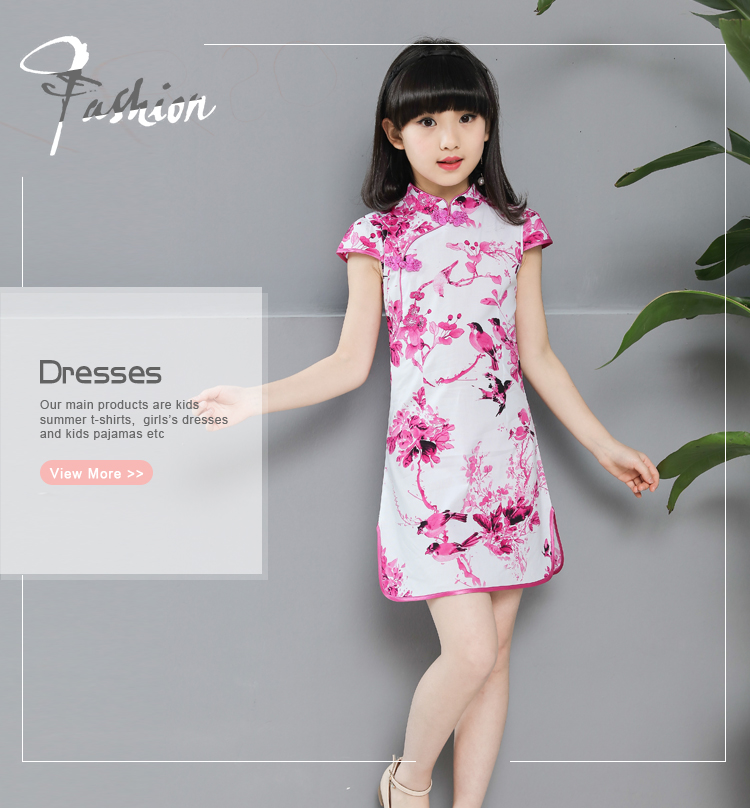 Modern Medium Length Girl Cheongsam Dress Chinese Traditional