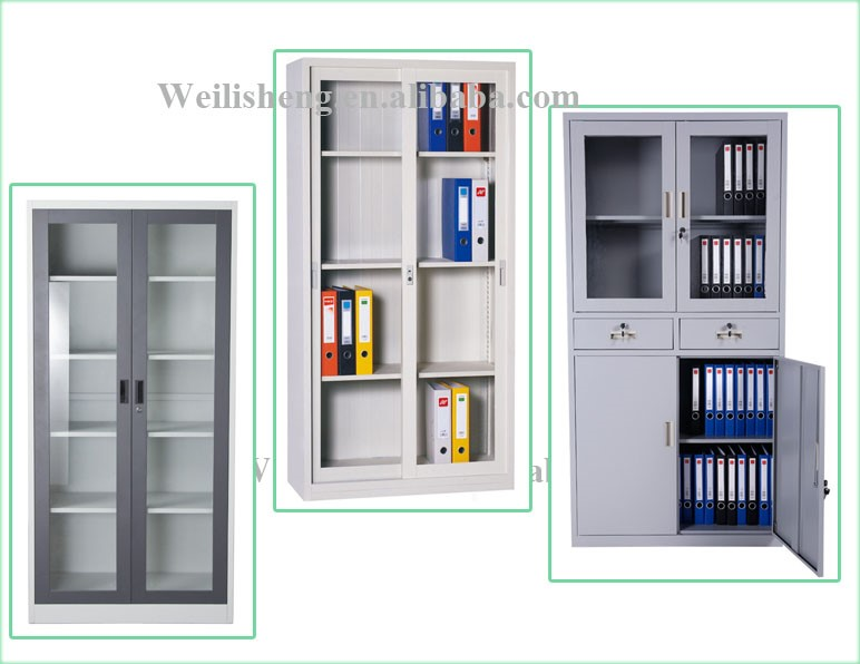 China glass door display steel cabinet, modern style file cabinet