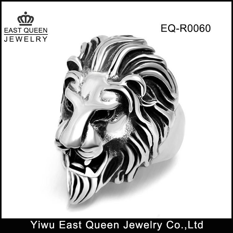 Men's 316L Stainless Steel Lion Head Vintage Silver Black Biker Ring
