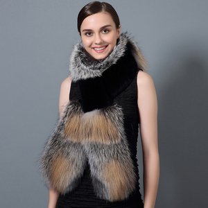 CX-S-36C Elegant Winter Female Wholesale Chengxing Fur Girls Real Fox Fur Scarf Rex Rabbit Fur Shawl