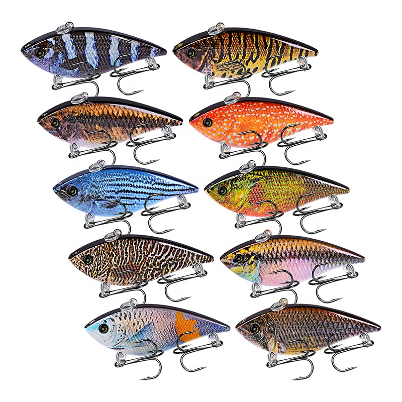 VIB Fishing Lures Plastic Hard Bait 12g 6.95cm Artificial Fishing Tackle 3D Eyes Bass Baits, 10 colors