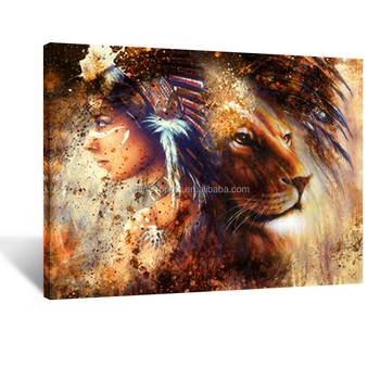 Indian Woman Wearing Feather Headdress with Lion Abstract Canvas Prints Abstract Wall Art Paintings 24''x32''
