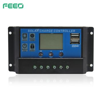 FSC Series LCD Display Two Double USB Manual PWM 12V/24V 10A 20A 30A Solar Charge Controller