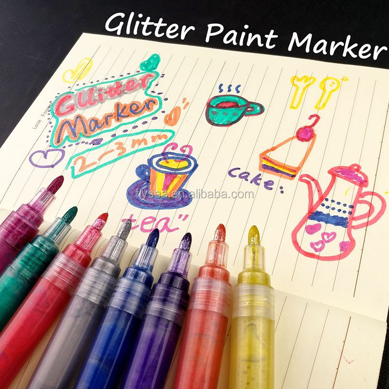 Water Based Markers Mulit Colors glitter pen set