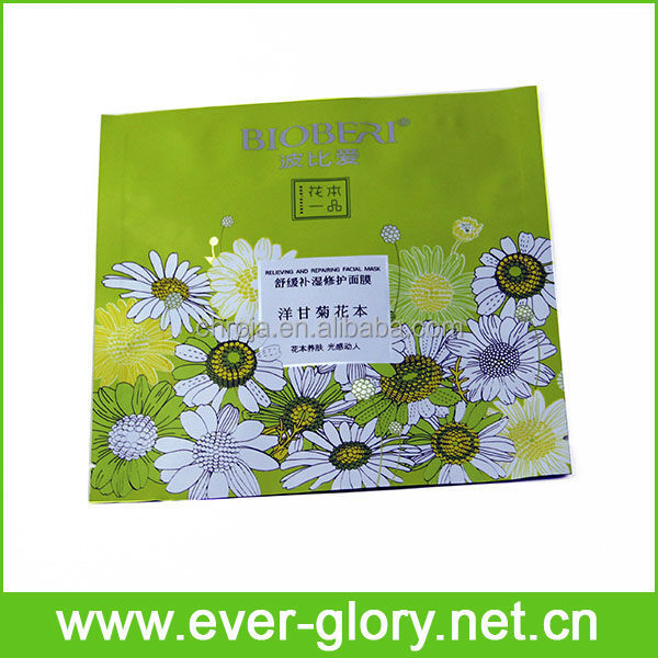 Heat sealed one time use hydrating mask plastic lamiated bags