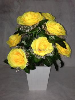 Wholesale Flower Rose Bouquet Artificial Yellow Rose Flower Bunch