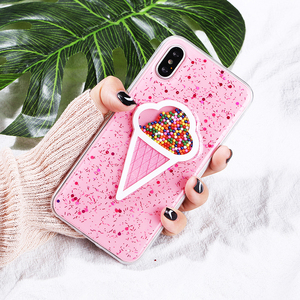 luxury ice cream cute water inside glitter case for iphone apple 6s 7 8 x xs clear,for iphone xs max transparent quicksand case
