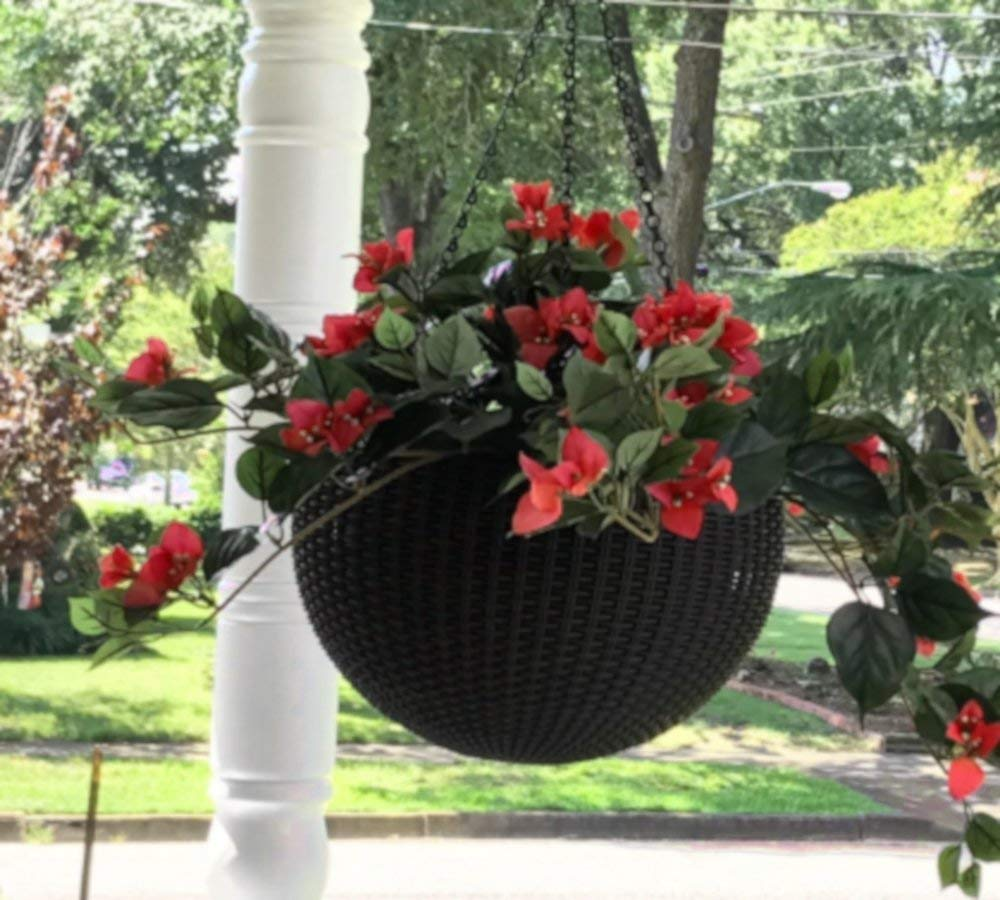 Wall Hanging Planter Set Indoor Outdoor Natural Round Rattan Large Box All Weather Espresso Brown & e-book by Amglobalsupplies