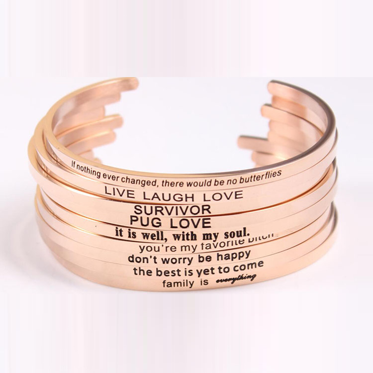 2018 Stamped Letter 316L Stainless Steel Bracelet Jewelry Rose Gold Cuff Inspirational Bangle