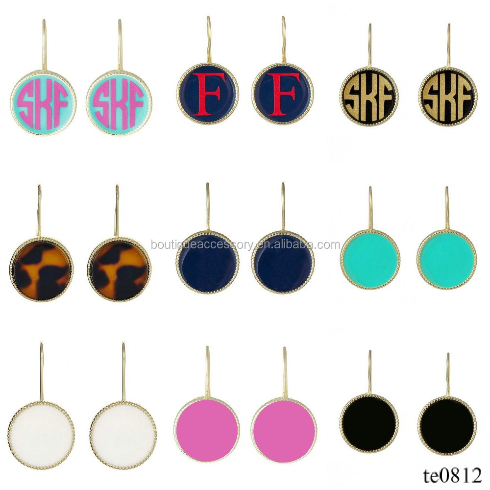 Custom Inital Enamel Small Monogrammed French Hook Earrings