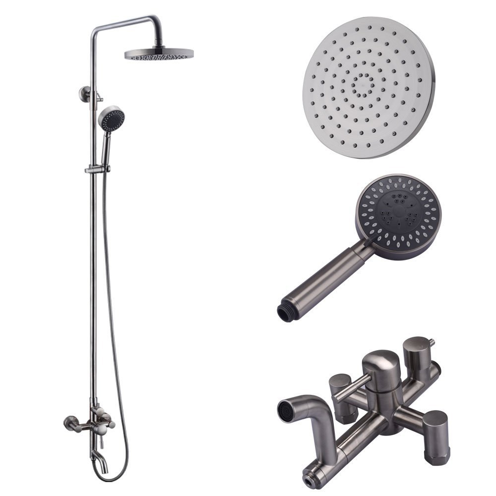 KES Bathroom SUS304 Stainless Steel Faucet Showering System Lead-Free with Rainfall Shower Head Adjustable Shower Bar Wall Mount TRIPLE FUNCTION, Brushed, XB6650D-BS