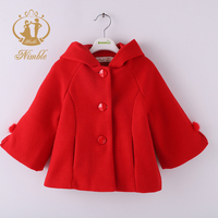 2019 Nimble Winter Red Warm Baby Girls Three Button Hoodie Child Winter Cute Coat KidsWoolen Thick Coats