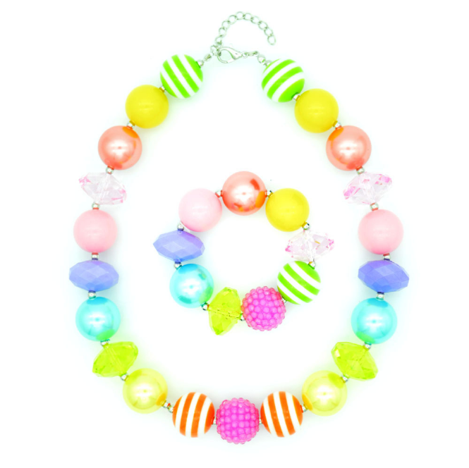 Rainbow Bright Stripe Chunky Bubblegum Necklace/Bracelet Set Big Bead Children's Babies