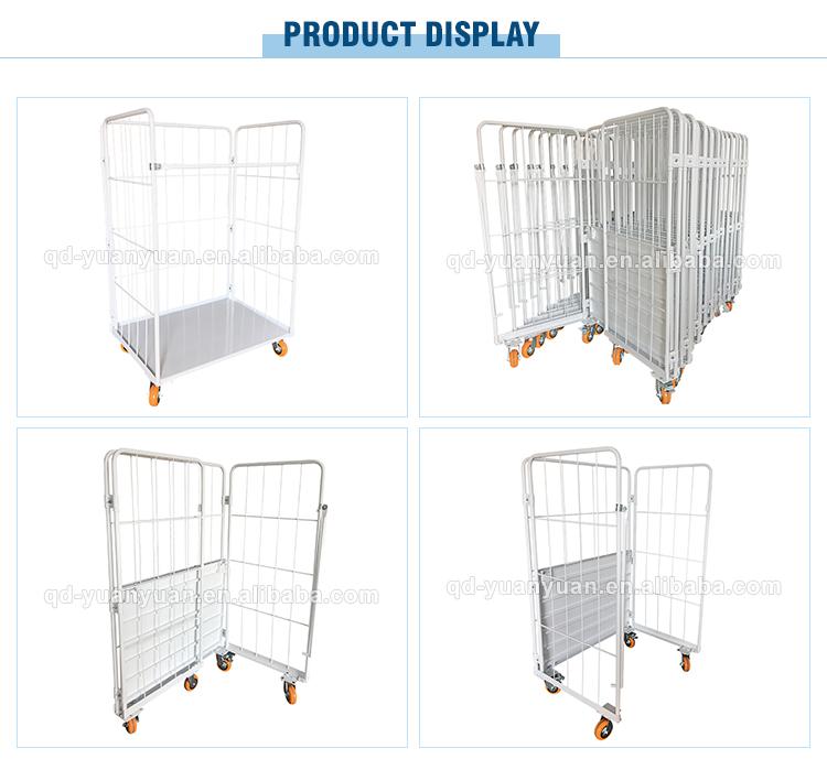 3 Zijdige Draad Mesh Pallet Staal Magazijn Mobiele Kooi Opvouwbare Roll Container Metalen Opslag Kooien Met Wielen