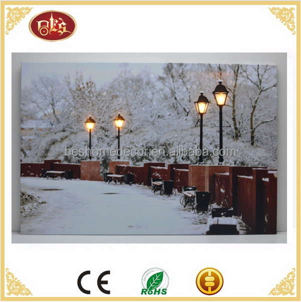Indoor Wall Decor Battery Operated LED Canvas Winter Scene With Lamp Post