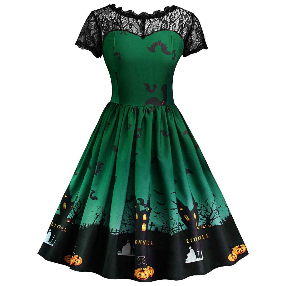 Halloween Women Dress Lace Short Sleeve Vintage Gown,Outsta Ladies Casual Fashion Evening Party Dress