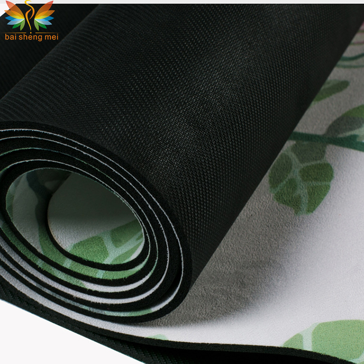 eco friendly printed private label natural rubber suede yoga mat manufacturer