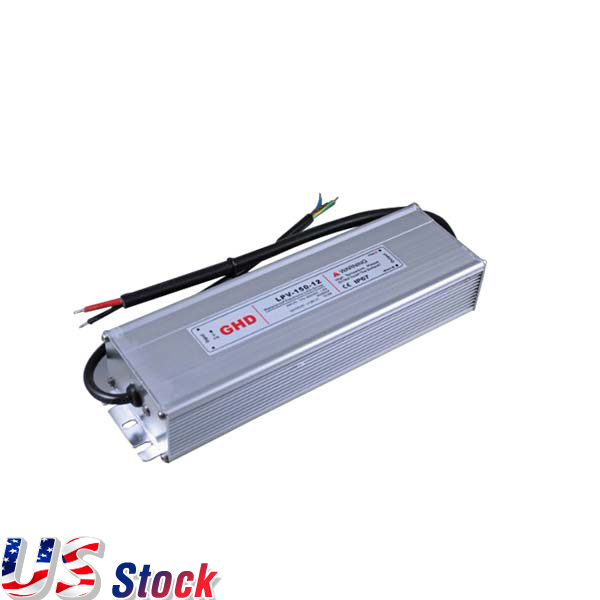 US Stock-150W AC110V to DC 12V 12.5A Waterproof Metal Shell LED Power Supply Transformer Driver(for LED Module/LED Strip/LED Bar