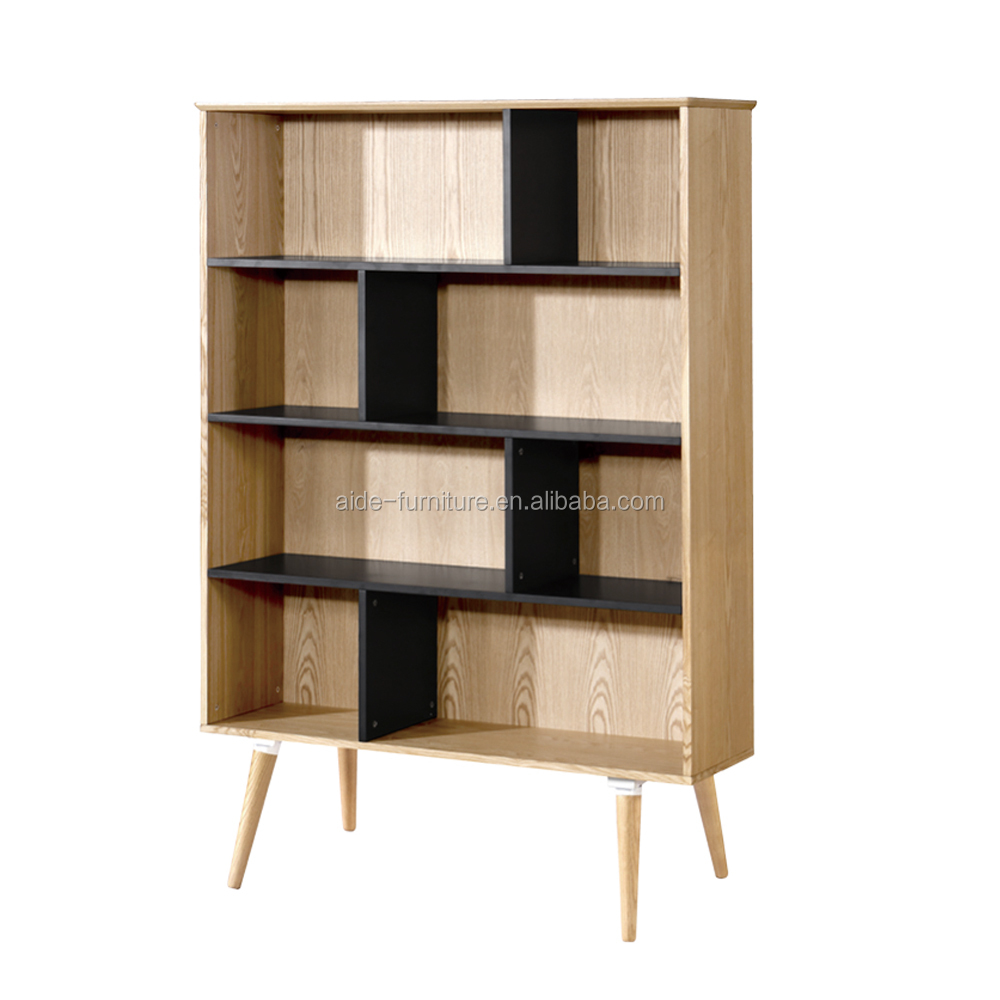 Modern office credenza furniture wholesale solid wood bookcase 4 tier