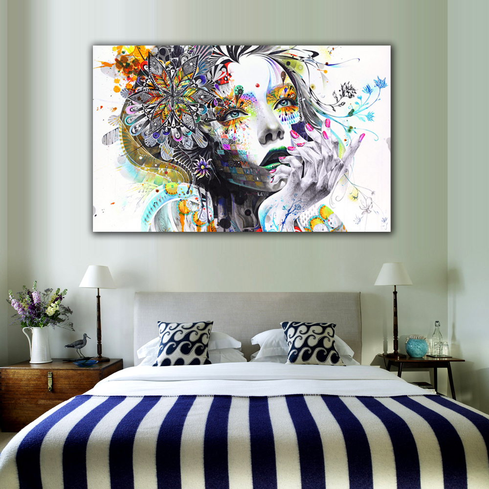 US $6.12 28% OFF|1 Piece Modern Wall Art Girl With Flowers Unframed Canvas  Painting For Home Bedroom Art Wall Decoration Wall Pictures LZ003-in ...