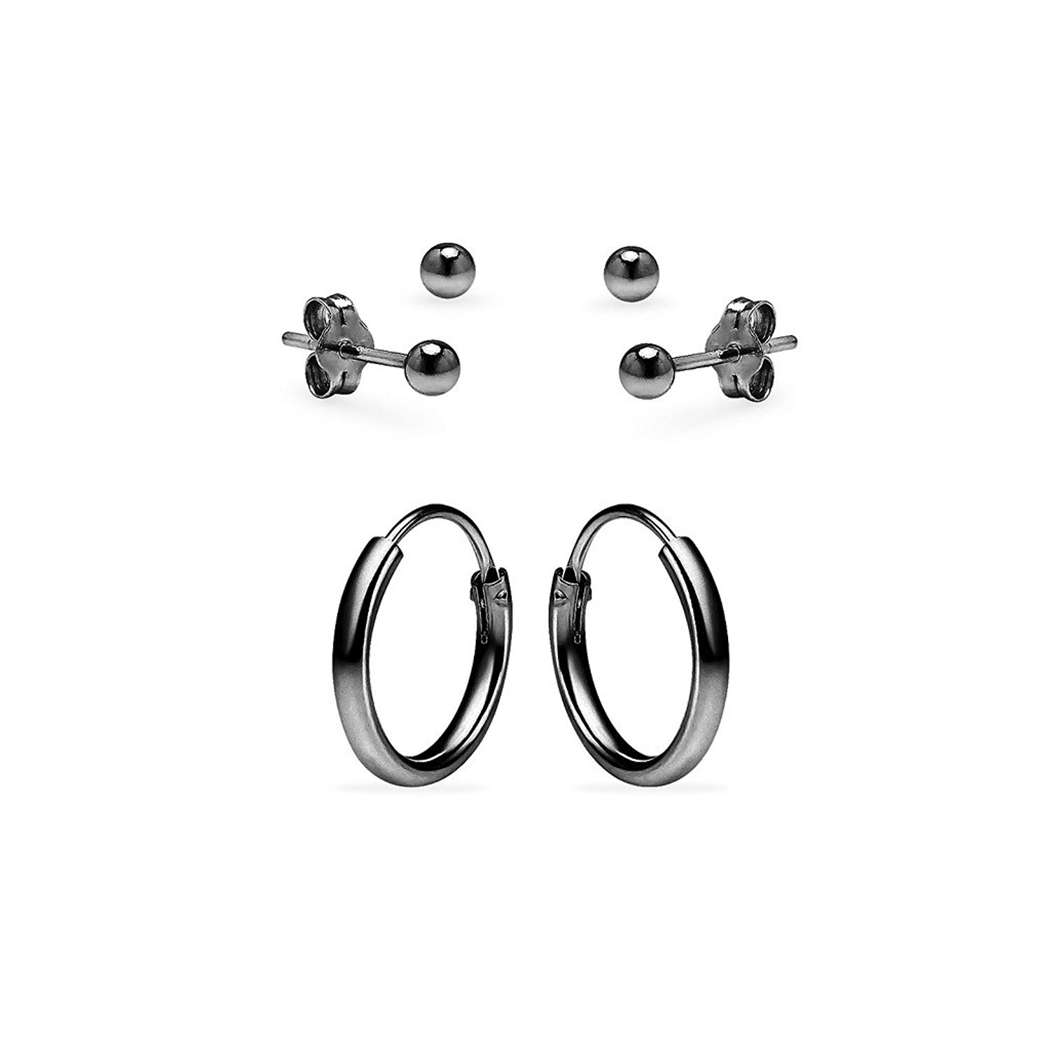 0c3bc2da2 Get Quotations · One Pair Sterling Silver 10mm Endless Hoops and Two Pairs  3mm Ball Stud Unisex Cartilage Earrings