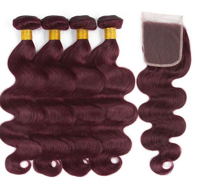 Alibaba.com / 99j  redwine body wave Brazilian/Peruvian/indian virgin human hair bundles/weaves with lace closure TOP quality silky