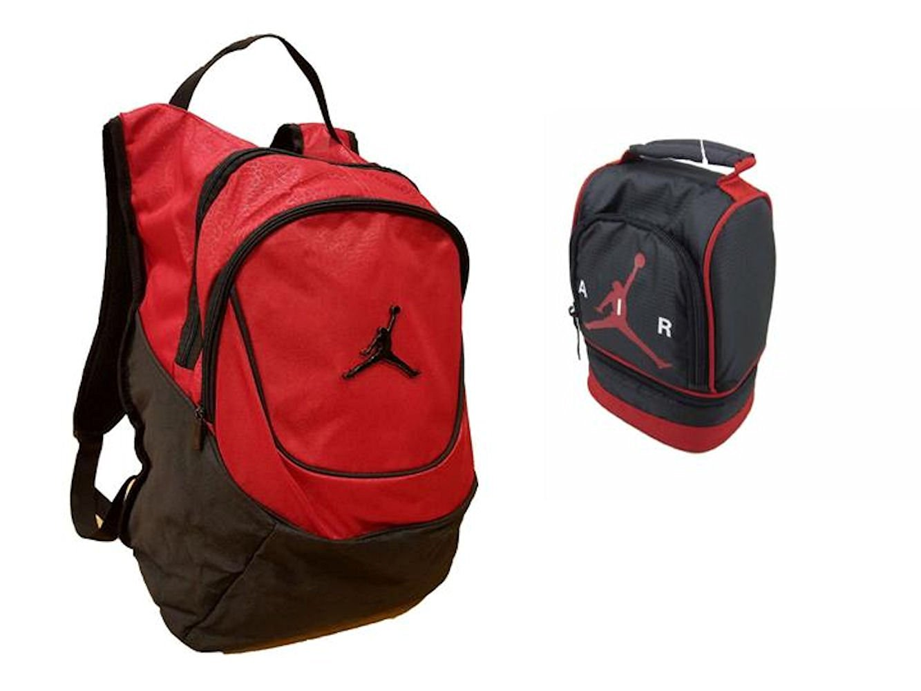 Nike Air Jordan Jumpman 23 Red Backpack & Black Air Lunch Tote Bag Combo + FREE Cell Phone Anti-Dust Plug