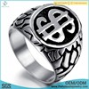 Designs gey men's dollar sign picture ss925 silver marcasite finger ring