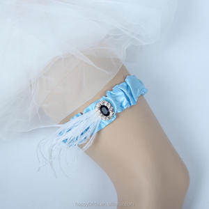 Lowosaiwor Factory SIlk Ribbon Wedding Garter With Ivory Feather,Bridal Leg Garter Belt WG1001
