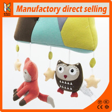 Lovely baby owl fax plush doll lathe hanging bells baby toy for bed stroller 3 windchime animal soft playing toys