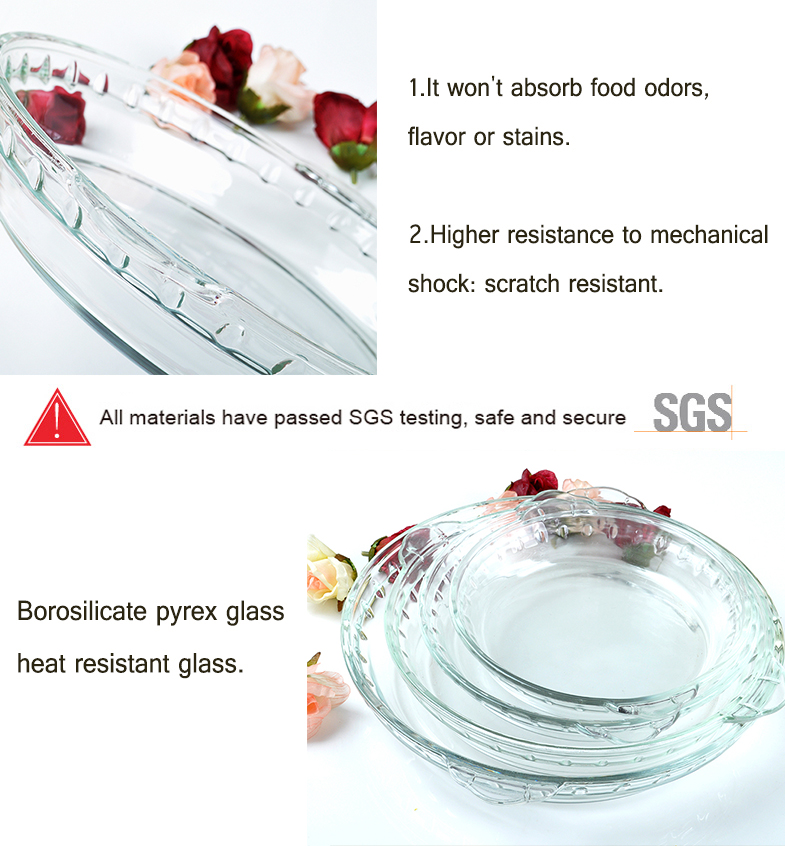 Pyrex glass bakeware pie plate/dish, glass bakeware set with handle, Round Clear oven safe